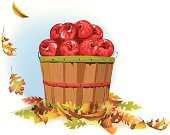Fall leaves fall around a bushel of autumn apples.