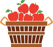 A vector illustration of a bushel of red apples.