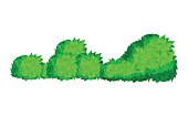 Bushes natural wild image. Elements of natural forest landscapes, flat design vector illustration. Green bush