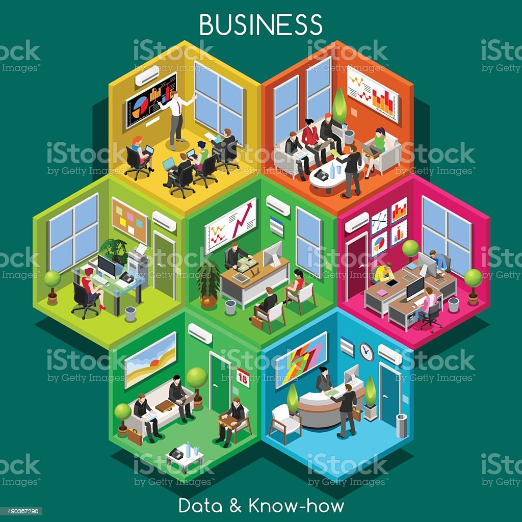 Business 01 Cells Isometric vector art illustration
