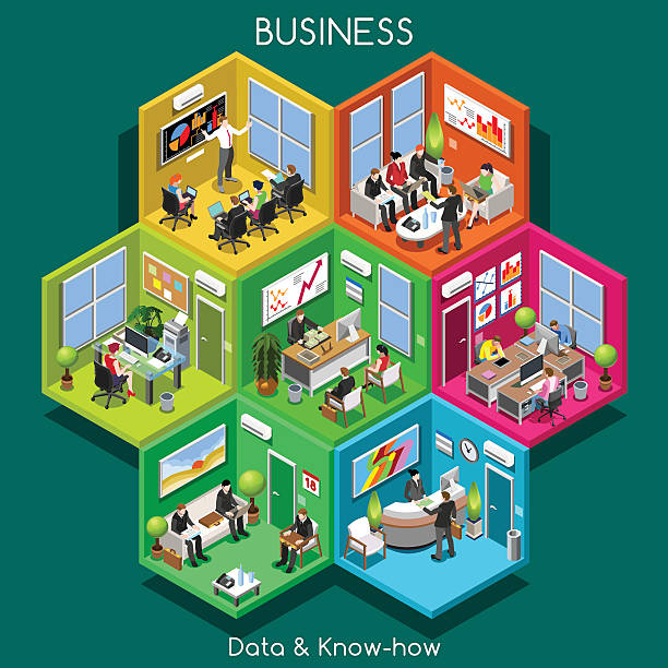 business 01 cells isometric - retail worker stock illustrations, clip art, cartoons, & icons