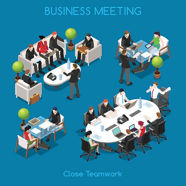 isometrische business 01 personen - meeting stock-grafiken, -clipart, -cartoons und -symbole