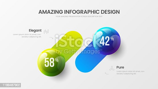 istock Business 2 option infographic presentation vector 3D colorful balls illustration.  Corporate marketing analytics data report design layout. Company statistics information graphic visualization template. 1199487902