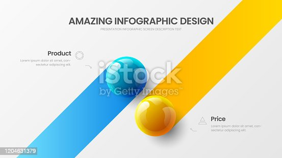 istock Business 2 option infographic presentation vector 3D colorful balls illustration.  Corporate marketing analytics data report design layout. Company statistics information graphic visualization template. 1204631379