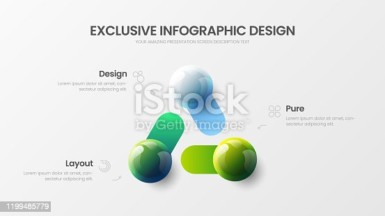 istock Business 3 option infographic presentation vector 3D colorful balls illustration.  Corporate marketing analytics data report design layout. Company statistics information graphic visualization template. 1199485779