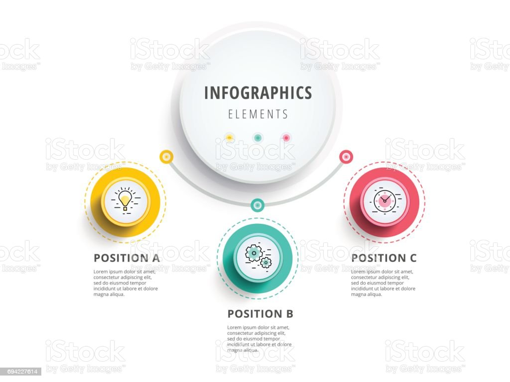 Business 3 step process chart infographics with step circles. Circular corporate graphic elements. Company presentation slide template. Modern vector info graphic layout design. vector art illustration
