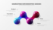 Business 4 option infographic presentation vector 3D colorful balls illustration.  Corporate marketing analytics data report design layout. Company statistics information graphic visualization template.