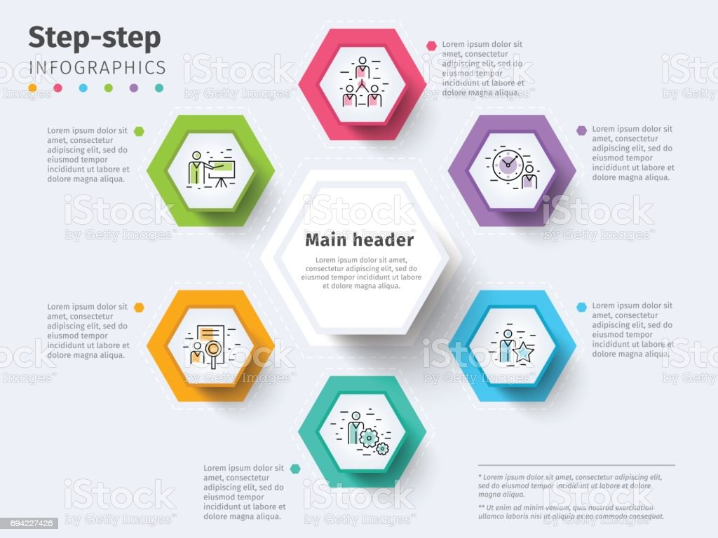 chart graphic design. Business 6 Step Process Chart Infographics With Circles. Bright Corporate Graphic Elements. Company Design