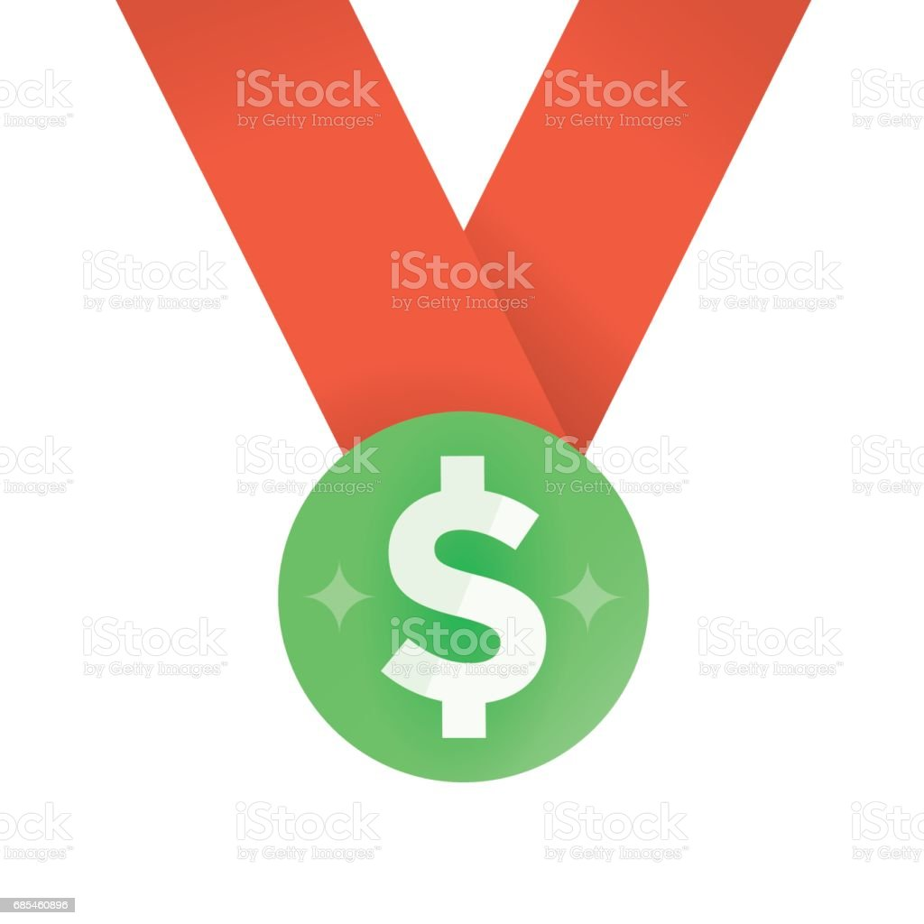 Business Achievement Reward Medal With Dollar Symbol Idea Business