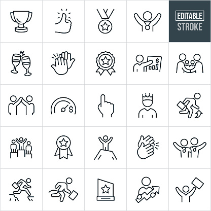 A set of business achievement icons that include editable strokes or outlines using the EPS vector file. The icons include a trophy, thumbs up, medal, person with medal around neck, toast, high five, ribbon award, business success, handshake, business people with arms raised in success, goal meter, number one hand gesture, business person with crown, business person moving up, business person atop a winners podium, business person with arms raised on top of a mountain, hands clapping, business person jumping cliff gap, business person crossing finish line, business award and a business person holding an upwards arrow to name a few.