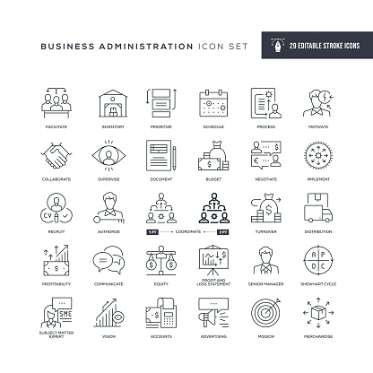 29 Business Administration Icons - Editable Stroke - Easy to edit and customize - You can easily customize the stroke with