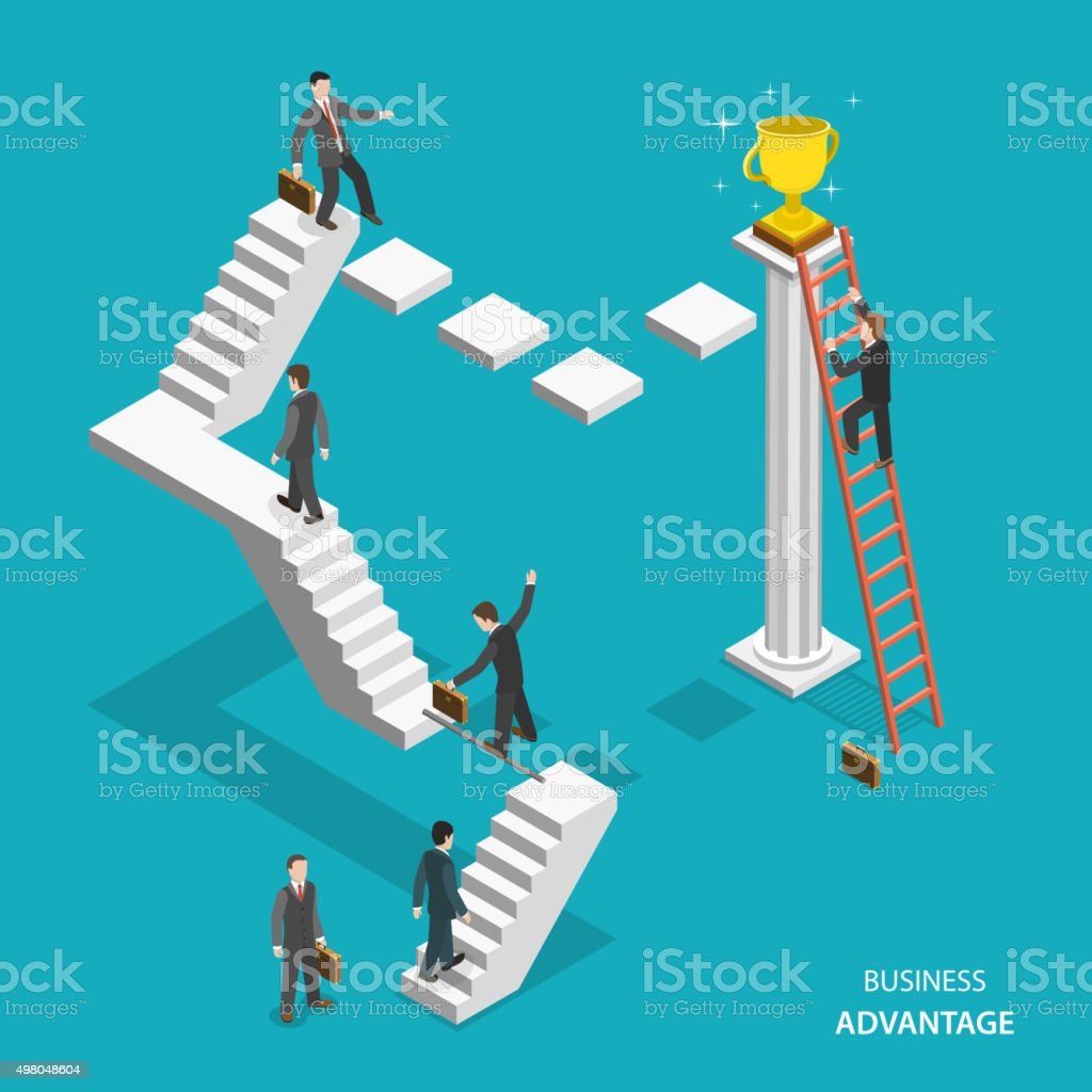 Business advantage isometric flat vector concept. vector art illustration