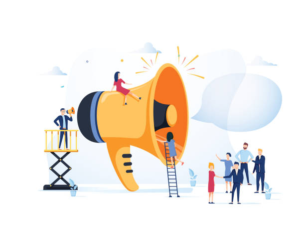 Business Advertising Promotion. Loudspeaker Talking to the Crowd. Big Megaphone and Flat People Characters Advertisement Business Advertising Promotion. Loudspeaker Talking to the Crowd. Big Megaphone and Flat People Characters Advertisement Marketing Concept. Vector illustration. Announcement business communication broadcasting stock illustrations