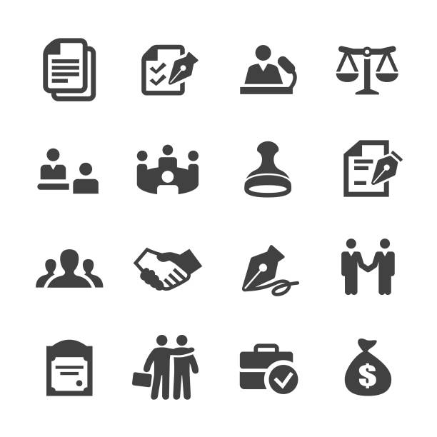 Business Agreement and Cooperation Icons - Acme Series Business, Agreement, Cooperation, contract, meeting, determination stock illustrations
