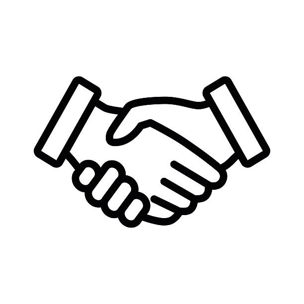 Business agreement handshake line art icon for apps and websites A outline of business handshake shaking stock illustrations