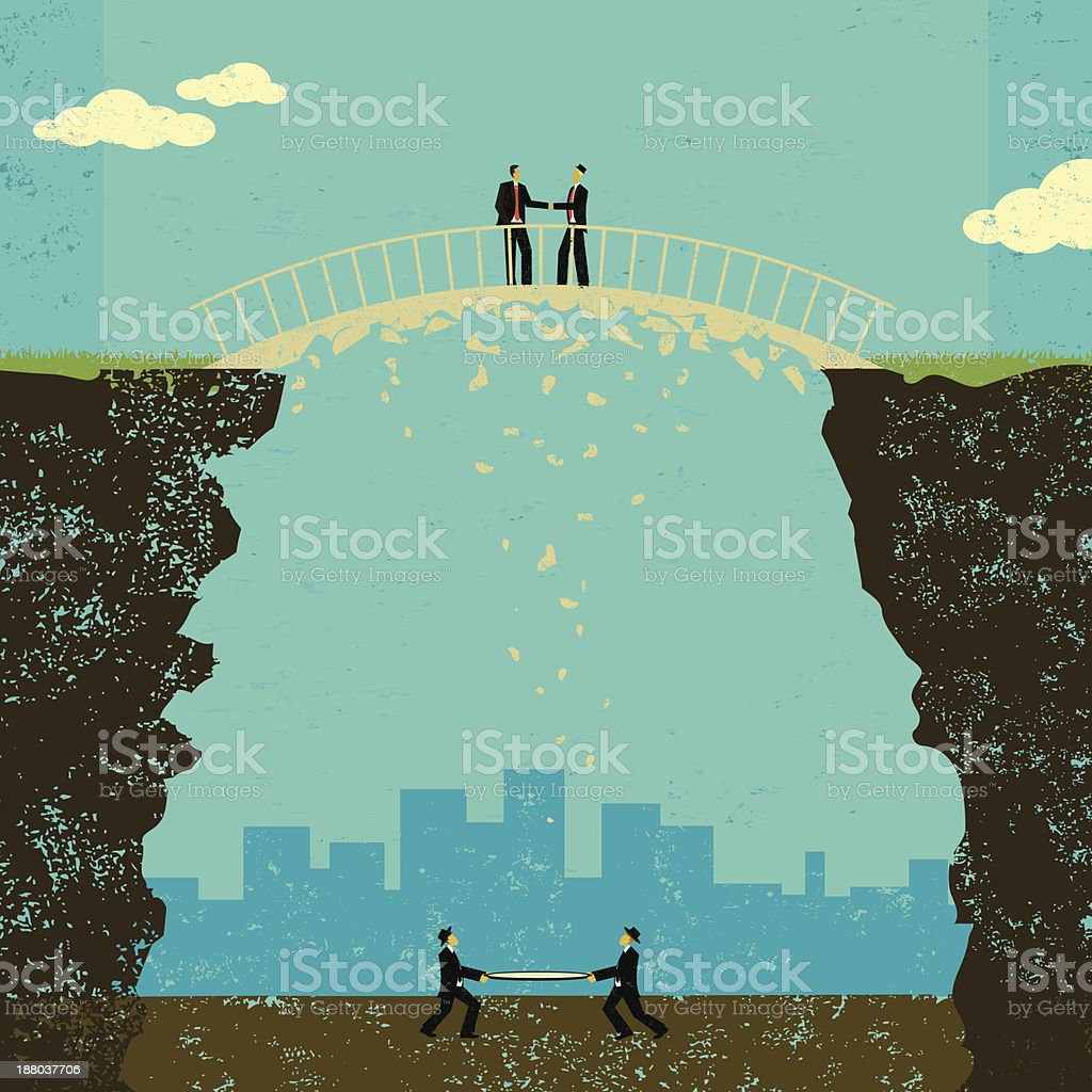 Business agreement with safety net royalty-free stock vector art