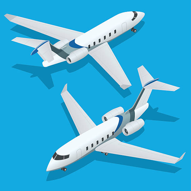 Business aircraft. Corporate jet. Airplane. Flat 3d Isometric vector illustration Business aircraft. Corporate jet. Airplane. Private jets. Flat 3d Isometric vector illustration private airplane stock illustrations