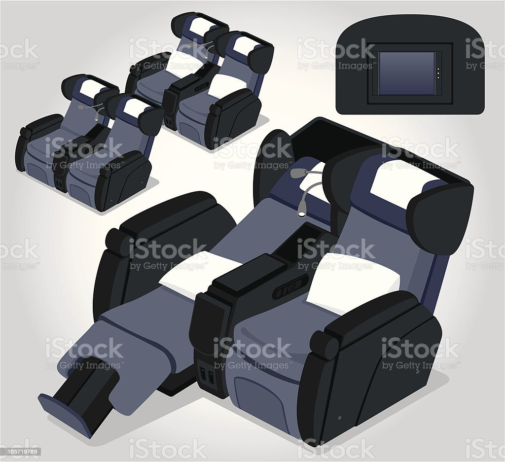 Business aircraft seats illustrations in various positions royalty-free stock vector art