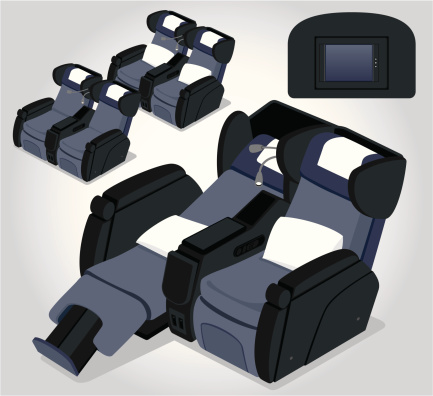 Business aircraft seats illustrations in various positions