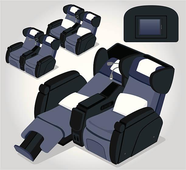 illustrazioni stock, clip art, cartoni animati e icone di tendenza di sedile aereo - sedili aereo