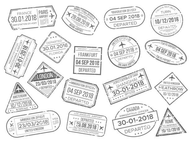 illustrazioni stock, clip art, cartoni animati e icone di tendenza di business airport cachet mark and customs passports control stamp. foreign travel and immigration passport official stamps vector set - illustrazioni su destinazioni di viaggio