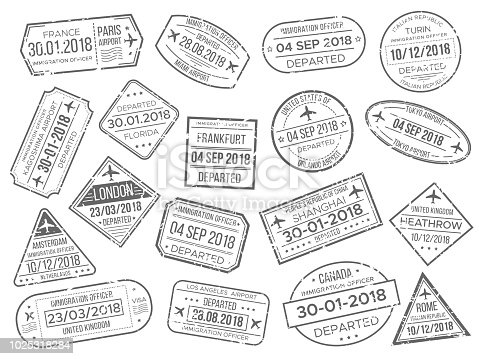Simple business airport cachet mark and customs airplane passports control stamp. Foreign Japan UK Italy China Canada France travel and immigration passport official stamps vector stamps sign set