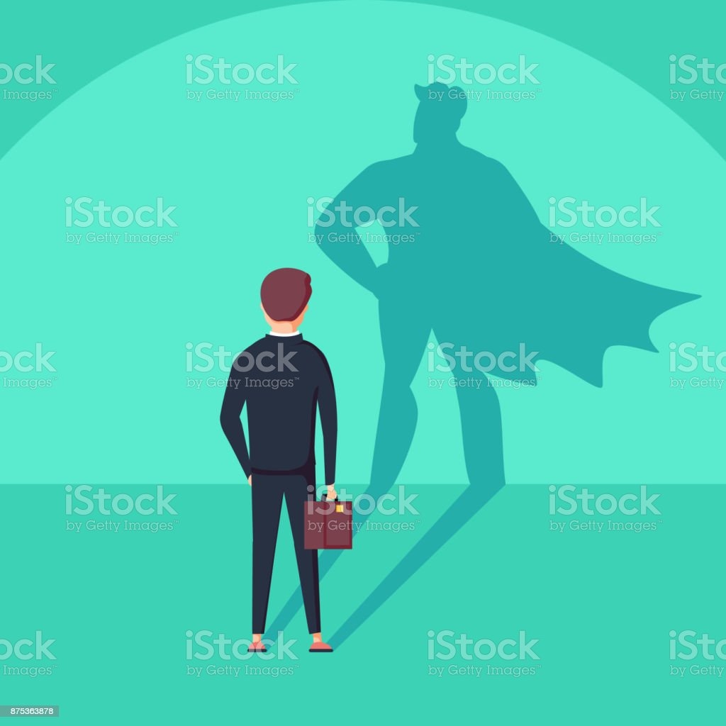 Business ambition and success vector concept. Businessman with superhero shadow as symbol of power, leadership. vector art illustration