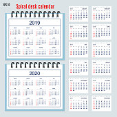Set of business calendar for desk year 2019 with 12-month isolated pages and  full calendar year 2019, 2020. English language. Week starts on Sunday. eps 10