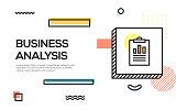 Business Analysis Concept. Geometric retro Style Banner and Poster Concept with Business Analysis icon