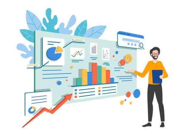 illustrazioni stock, clip art, cartoni animati e icone di tendenza di business analysis concept - efficacia