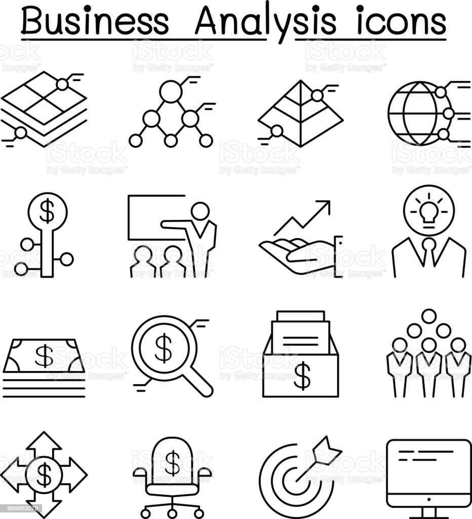 Business Analysis & Conceptual icon set in thin line style vector art illustration