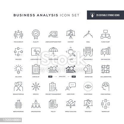 istock Business Analysis Editable Stroke Line Icons 1205546664