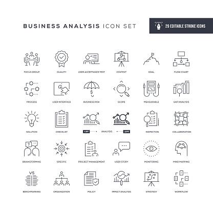 Business Analysis Editable Stroke Line Icons