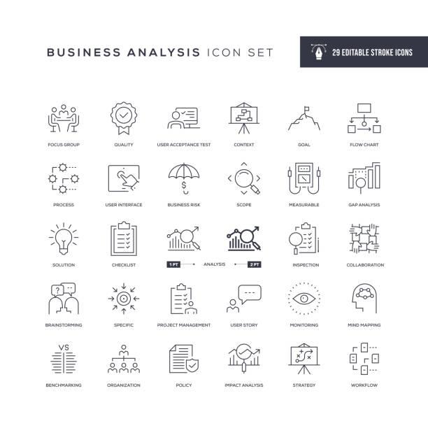 business analysis editable stroke line icons - geschäftsstrategie stock-grafiken, -clipart, -cartoons und -symbole