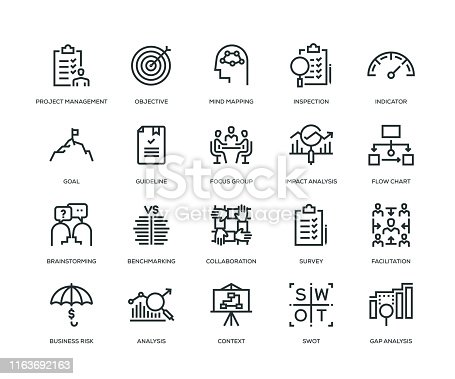 Business Analysis Icon Set - Line Series