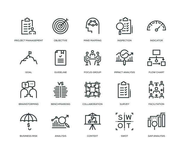 Business Analysis Icon Set Business Analysis Icon Set - Line Series impact stock illustrations