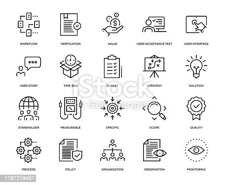 Business Analysis Icon Set - Thin Line Series
