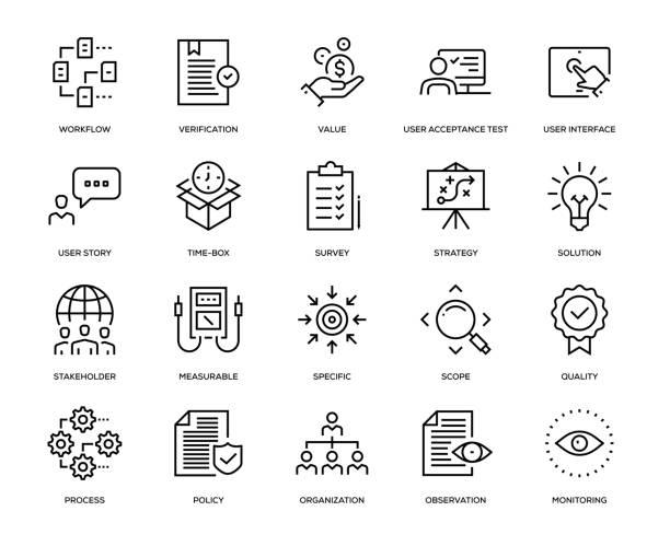 business analysis icon set - strategie stock-grafiken, -clipart, -cartoons und -symbole