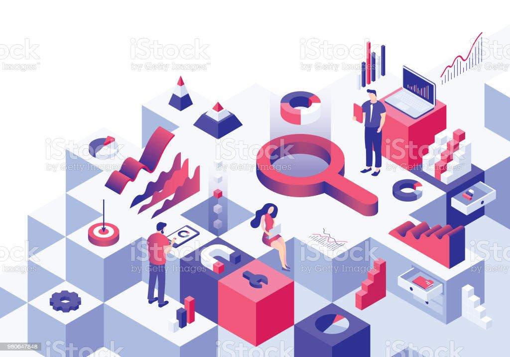 Analyse isometrische Geschäftskonzept - Lizenzfrei Analysieren Vektorgrafik