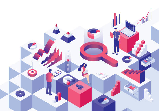 business analysis isometric concept - office job stock illustrations, clip art, cartoons, & icons