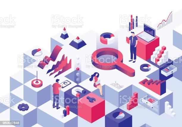 Ilustración de Concepto Isométrico De Análisis Empresarial y más Vectores Libres de Derechos de Adulto