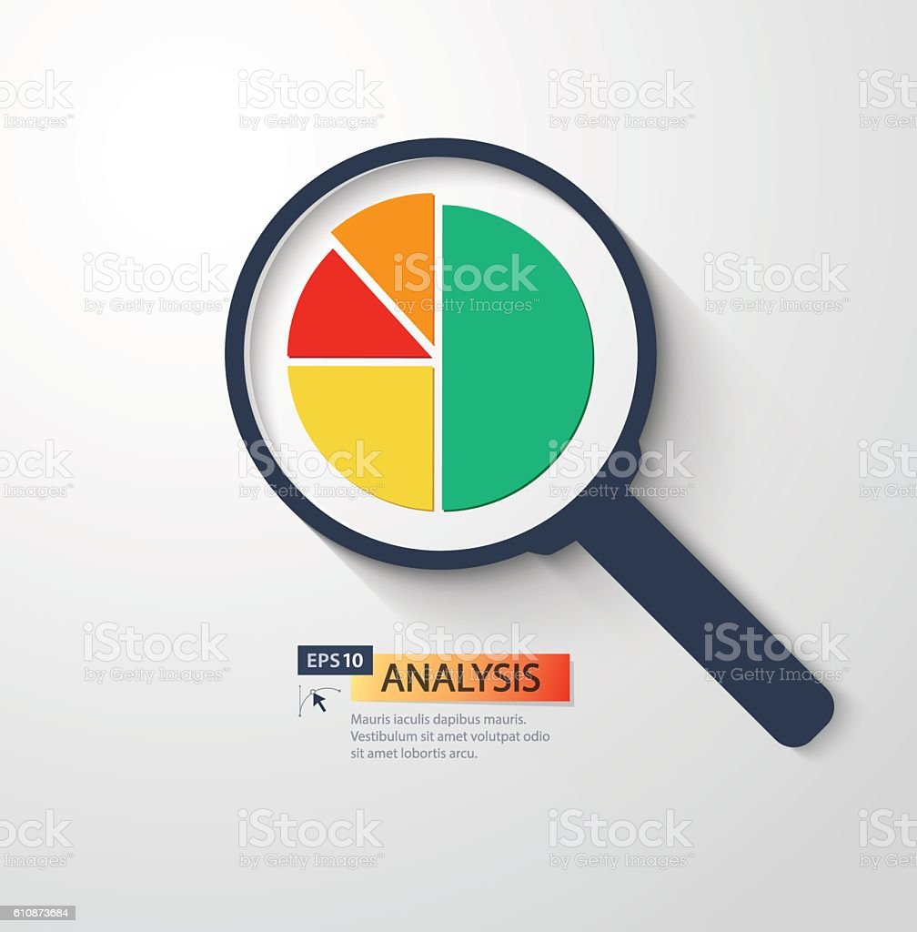 Business analysis symbol with magnifying glass icon and pie chart business analysis symbol with magnifying glass icon and pie chart royalty free business analysis nvjuhfo Images