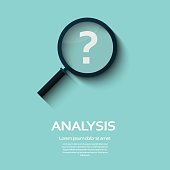 Business Analysis symbol with question mark icon. Long shadow flat