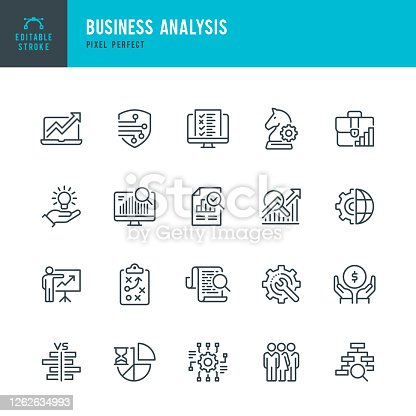 Business Analysis - thin line vector icon set. 20 linear icon. Pixel perfect. Editable outline stroke. The set contains icons: Business Strategy, Big Data, Solution, Briefcase, Research, Data Mining, Accountancy, Presentation.