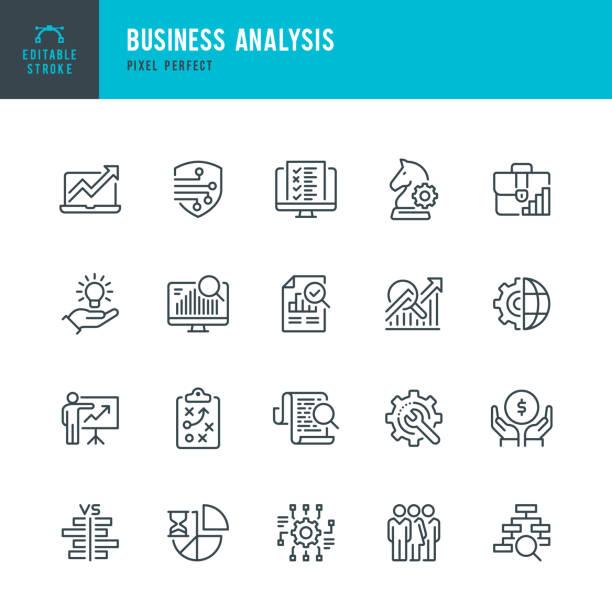 業務分析 - 細線向量圖示集。圖元完美。可編輯描邊。該集包含圖示:業務戰略、大數據、解決方案、公事包、研究、數據挖掘、會計。 - 商務 幅插畫檔、美工圖案、卡通及圖標