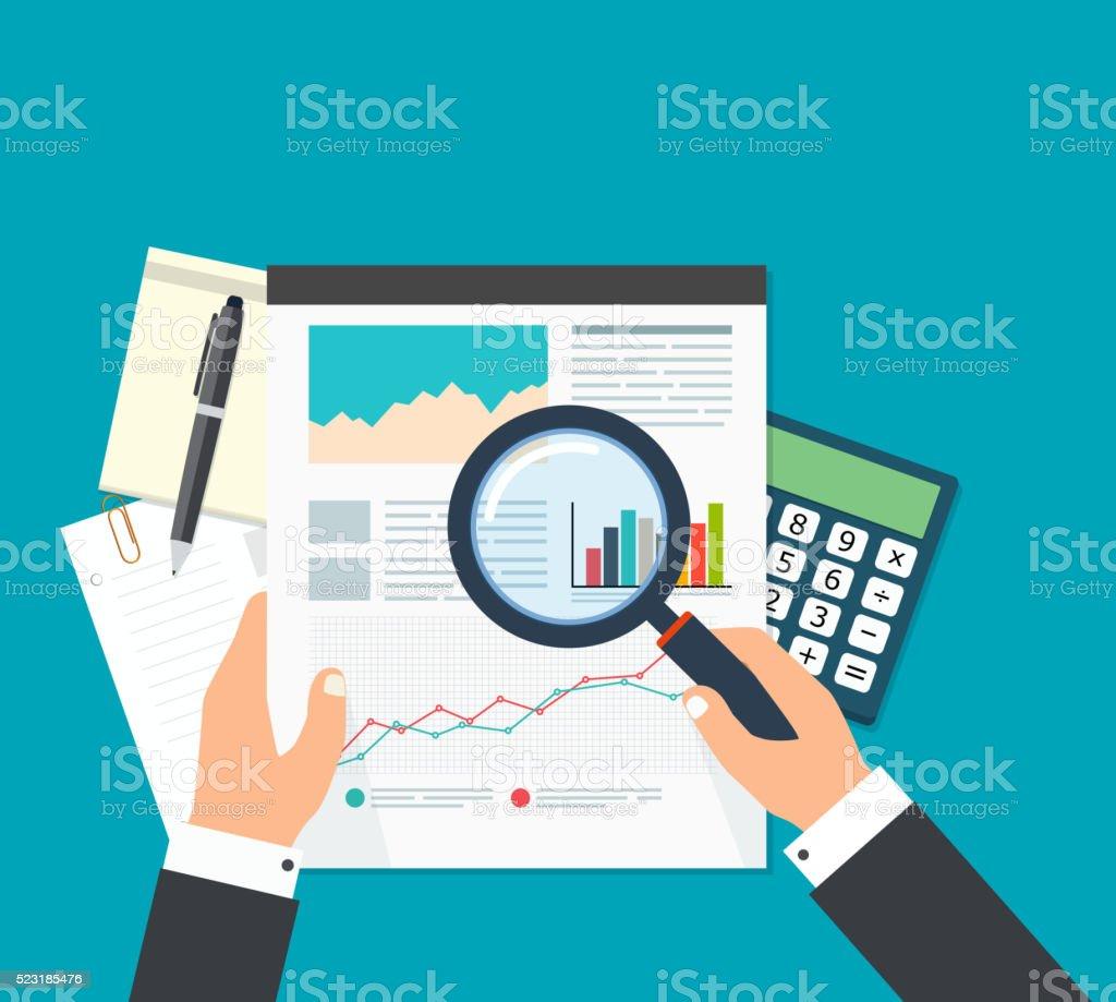 Analista comercial financiero, el análisis de los datos. - ilustración de arte vectorial