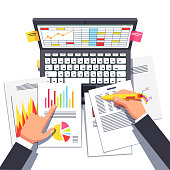 Business analyst working on statistical data. Flat vector clipart illustration