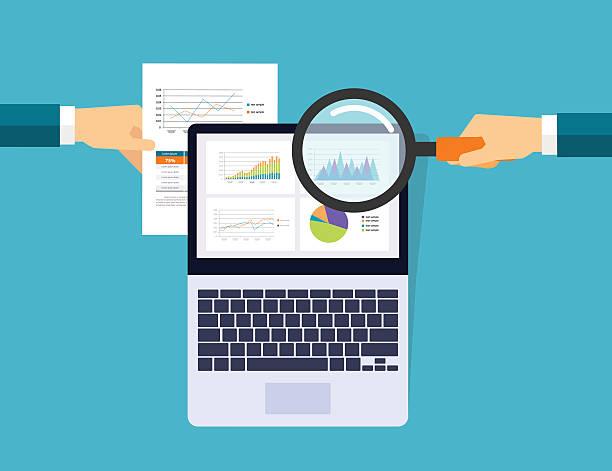 geschäft graph analytic in Gerät mit Bericht Papier-Konzept – Vektorgrafik