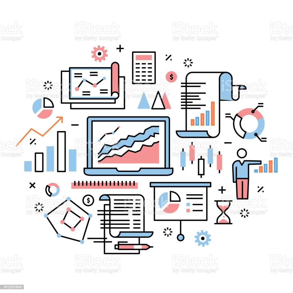 Business analytics, data research, presentation vector art illustration