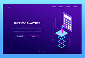 Business analytics - modern isometric vector web banner on purple background with copy space for text. High quality header with businessman using a calculator, analyzing the results. Financial concept